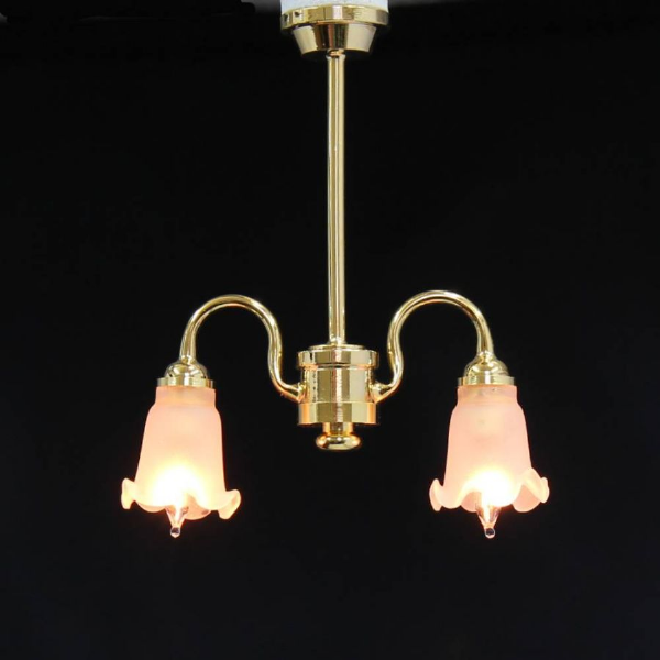 2 Down arm frosted tulip chandelier.  Dolls house light. 6003